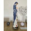 Statue artisanale Vierge des Pauvres de Banneux N.D 40 cm - drapé fleur bleu