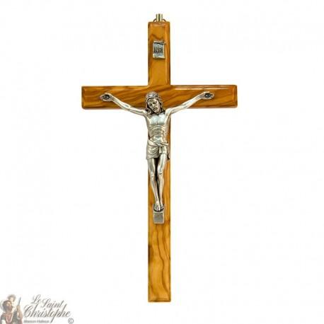 Croix en bois d'olivier et Christ en métal - 26 cm