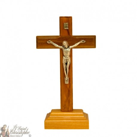 Olive wood cross on metal Christ base - 14 cm