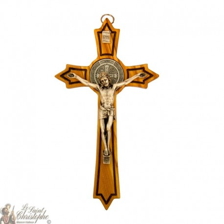 Cross of Saint Benedict made of olive wood with spikes - 20 cm