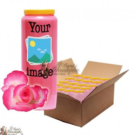 Bougie de neuvaine parfum Rose - personnalisable - carton 20 pièces