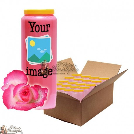 Novena candle Rose scent - customizable - box 20 pieces