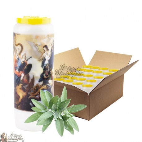 Novena candle of purification scented with sage - Box 20 pcs