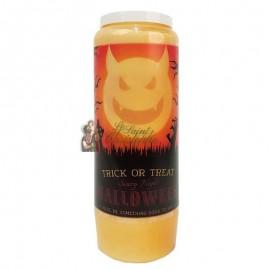 Candela novena arancione di Halloween - Trick or Treat trasparente