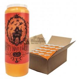 Bougie de neuvaine orange Halloween Manoir hanté - carton 20 pièces