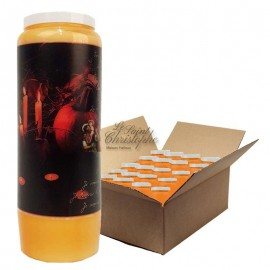 Bougies de neuvaine orange Halloween - Samhain citrouilles 2 - carton 20 pcs