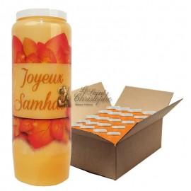 Bougies de neuvaine orange Halloween - Samhain - carton 20 pièces