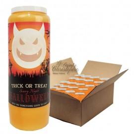 Bougies de neuvaine orange Halloween - Trick or Treat - carton 20 pièces