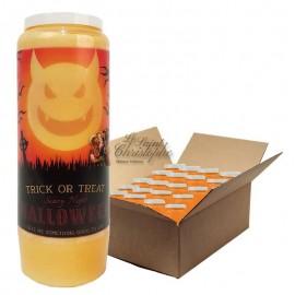 Bougies de neuvaine orange Halloween - Trick or Treat 2 - carton 20 pièces