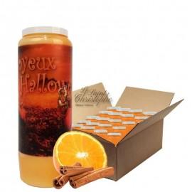Velas Novena calabaza de Halloween aroma a naranja y canela Caja 20 unid.