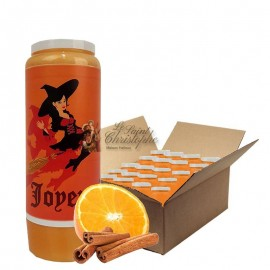 Velas Novena Bruja de Halloween con aroma a naranja y canela - caja de 20 unidades