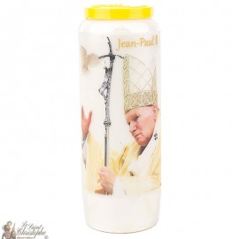 Novena candle to Saint John Paul II  - Dove - French Prayer