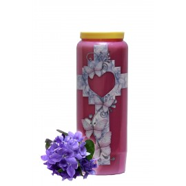 Novena Candle - Purple - Violet fragrance - Butterflies Heart Cross