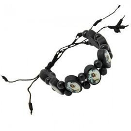 Bracelet en bois noir avec la Vierge de Banneux N.D