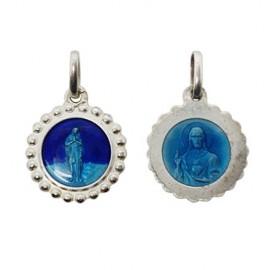 Médaille Vierge des pauvres de Banneux N.D - Sacré cœur de Jésus émaillée bleue - Argent 925