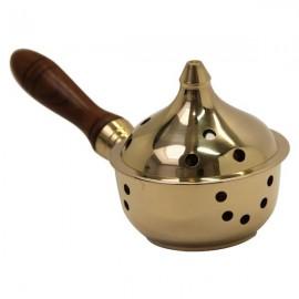 Encensoir en cuivre avec poignée en bois