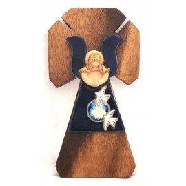 Croix bois avec vierge marie en terre cuite