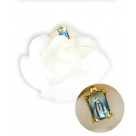 Candle in the shape of a white rose with a Miraculous Virgin medal