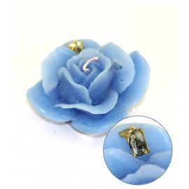 Bougie en forme de rose avec médaille de la Vierge de Banneux