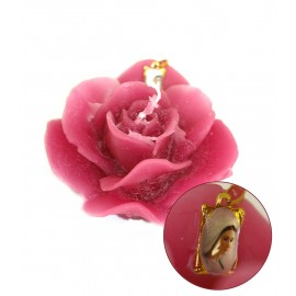 Candle in the shape of a rose with Medjugorje medal