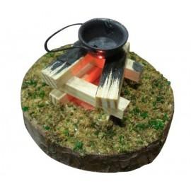 Houten brandpot LED-licht - 10 cm
