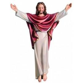 Christ ressuscité sculpté bois mural - 30 cm