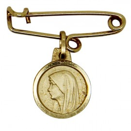 Broche médaille de la Vierge de Lourdes - Plaqué or