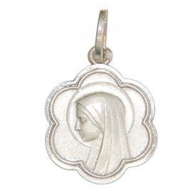 Medal of the Virgin Mary in the shape of a flower - Silver 925