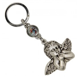 Keychain bust angel with St. Christopher