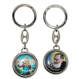 Keyring Saint Christopher with Padre Pio