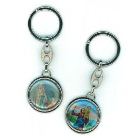 Saint Christopher key ring with Lourdes