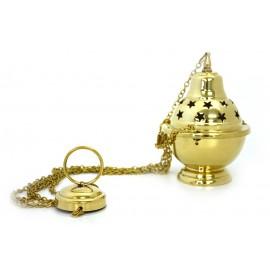 Encensoir en cuivre sculpté étoile avec chaine