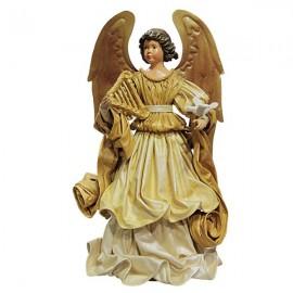 Ange robe dorée avec colombe - 42 cm