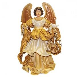 Ange robe dorée avec cage oiseaux et colombe - 42 cm