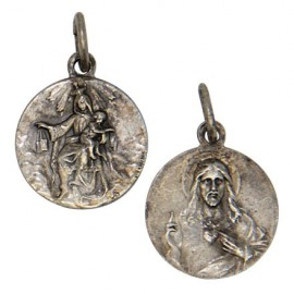 Scapular and Sacred Heart of Jesus Medal - Antique silver 925