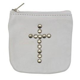 Etui en cuir blanc avec croix