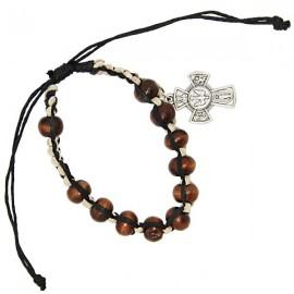 Bracelet en bois dizaine avec croix Saints protecteurs