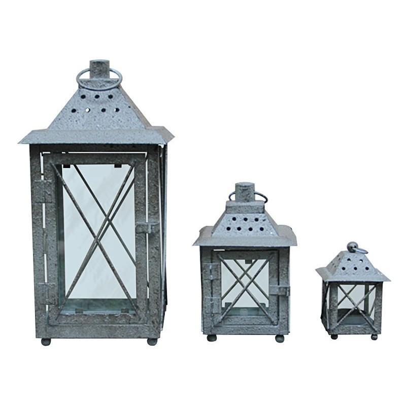 Goede Grijze lantaarn voor binnen/buiten kandelaar - Set van 3 stuks IZ-89