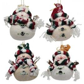 Bonhomme de neige suspension de Noël - 4 pièces