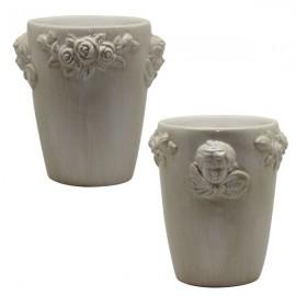 Glass ceramic angel cream flowers