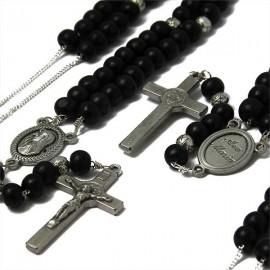 Chapelet noir perles en bois collier
