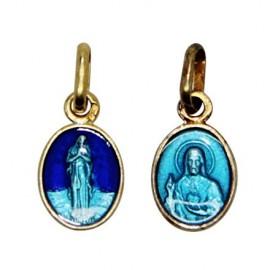 Médaille de la Vierge des Pauvres de Banneux émaillé bleu - plaqué or