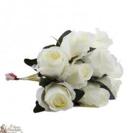 Bouquet fleurs - 10 Roses blanches