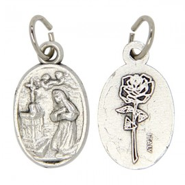 Medal Holy Rita silver plated metal