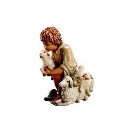 Jonge herder met schapen - 12 cm