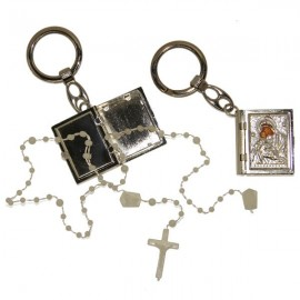 Keychain box plastic rosary Virgin Icon metal