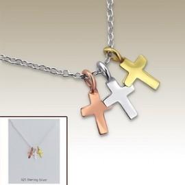 Collier petites croix trois couleurs - Argent 925
