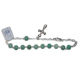 Bracelet dizaine pierres Aventurines - Argent 925