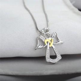 Collana in argento con pendente angelo in argento intarsiato con zirconi e cristalli - argento 925