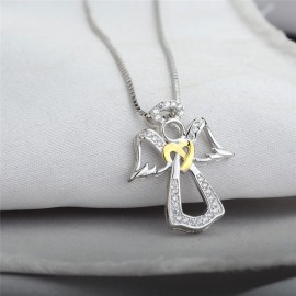 Silver Necklace with its silver angel pendant inlaid with zircons and crystals - silver 925